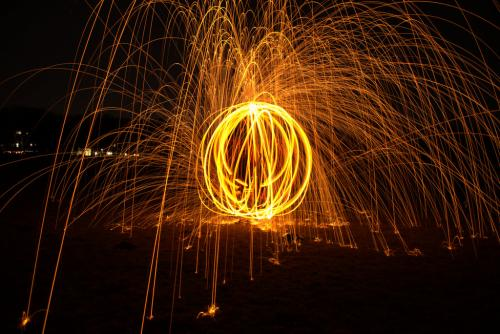 Stahlwolle Feuerwerk