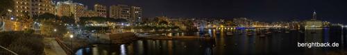 Malta Sliema Bucht bei Nacht