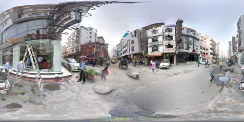 Delhi Hotelstraße Kugelpanorama
